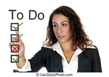 female corporate ceo - to do list on white background