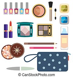 Female cosmetics large set in a flat style isolated on a white background. Nail polish, lipstick, powder, hair spray and cosmetic bag.