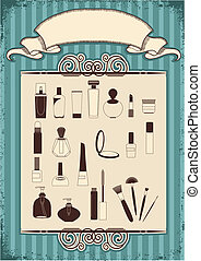 Female cosmetics on old vintage background with decor frame