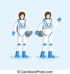 Female cosmonauts in spacesuits flat illustration. Smiling astronauts team standing, waving hand and holding helmets cartoon characters. Space mission, galaxy exploration isolated