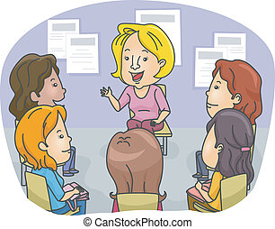 Female Counseling - Illustration Featuring a Group of Women...