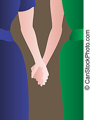 Female couple holding hands