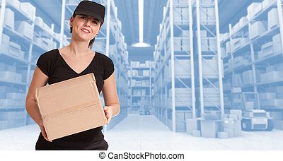 Female courier at distribution warehouse b