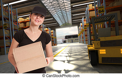 Female courier at transportation center