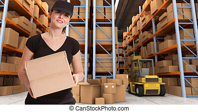 Female courier at warehouse a