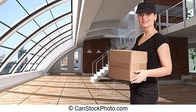 Female courier in a loft