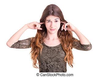 Female Covering Her Ears