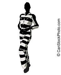 Female Criminal Silhouette Illustration - Female criminal on...