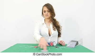 Female Croupier Dealing Cards on White Background