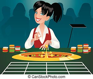 Female croupier in a casino - Vector illustration of a...