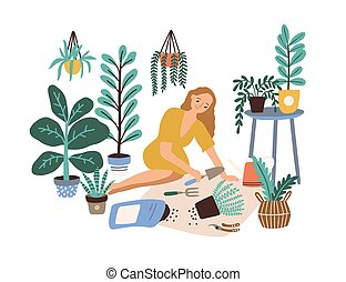 Female cultivating home garden vector flat illustration. ...