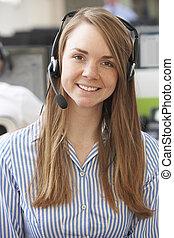 Female Customer Service Agent In Call Centre