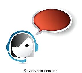 female customer service representative. contact us concept illustration