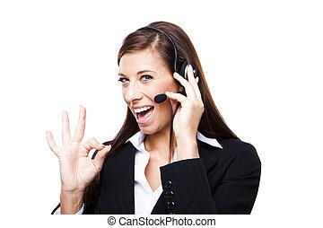 Female customer service representative smiling, isolated on...