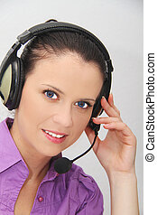 Female customer support operator