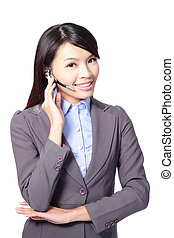 Female customer support operator with headset and smiling...