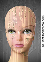 Female cyborg head on dark gray background - Double exposure...