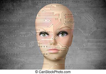 Female cyborg head with human eyes - Double exposure...