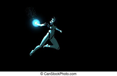 female cyborg throws energy charge - female cyborg throwing...