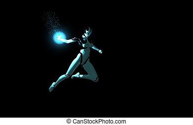 female cyborg throws energy charge - female cyborg throwing ...