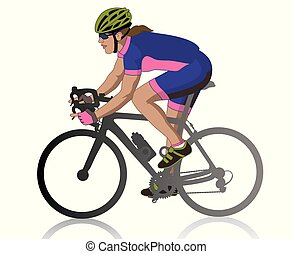 female cyclist racing on road, isolated on a white background