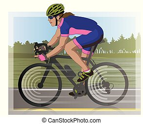 female cyclist racing on road, with scenery in background
