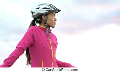Female Cyclist Standing With Bicycle On Beach - Portrait Of Sporty Woman