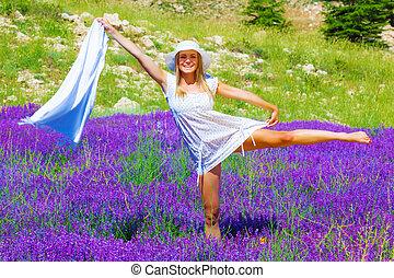 Female dance on lavender meadow