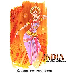 Female dancer dancing on Indian background showing colorful culture of India