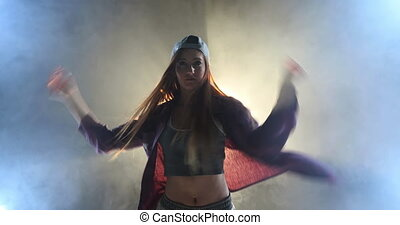 Female dancer - Front view of a young Caucasian woman ...