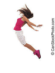 Female dancer jumping on a white background