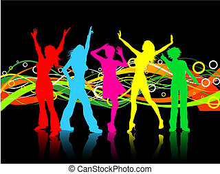 female dancers - Colourful background with females dancing