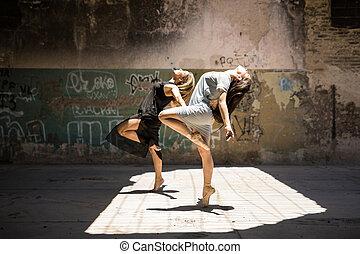 Female dancers performing together