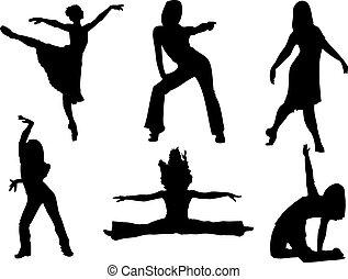 Female dancers - silhouettes of female dancers