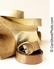 female decorative gold bag
