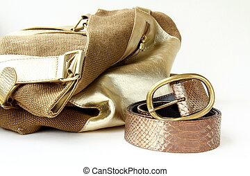 female decorative gold bag