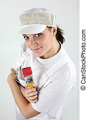 Female decorator eager to get started
