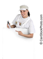 Female decorator promoting business