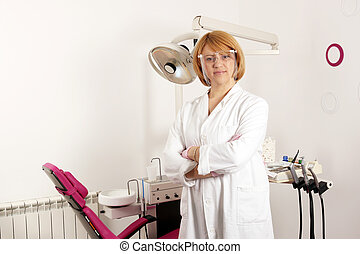 female dentist with protective mask in dental office