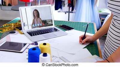 Female designer having a video conference - Animation of ...