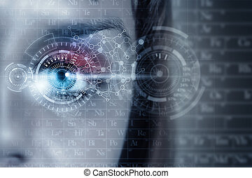 Female digital eye - Close up of woman eye in process of...