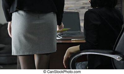 female director touching secretary ass. Office abuse,...