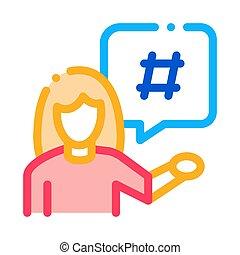 female discontent icon vector outline illustration - female ...