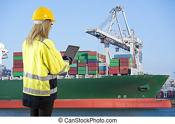 Female Docker with bill of lading