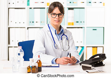 Female doctor at desk