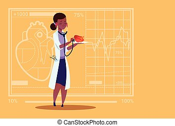 Female Doctor Cardiologist Examining Heart With Stethoscope Medical Clinics African American Worker Hospital