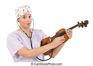 Female doctor examining violin