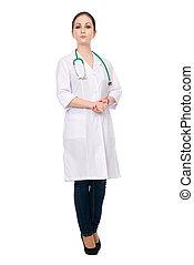 Female doctor full length portrait