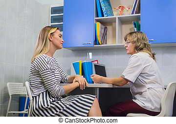 Female doctor gynecologist with patient at her office