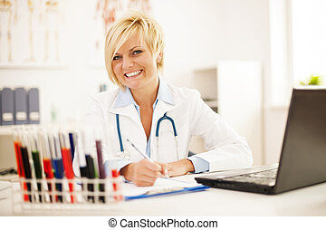 Female doctor hard working in her office